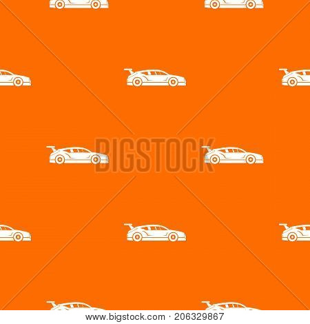 Rally racing car pattern repeat seamless in orange color for any design. Vector geometric illustration