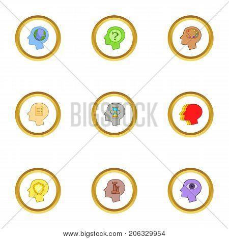 Head logo icons set. Cartoon style set of 9 head logo vector icons for web design