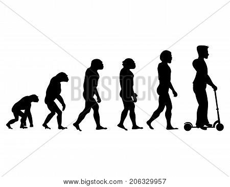 Theory evolution of human. From monkey to man on scooter . Isolated on white background.