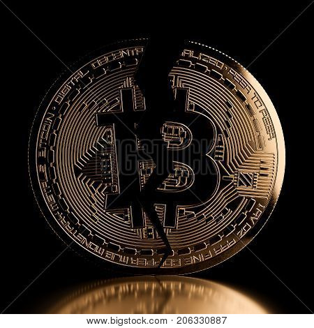 Bitcoin Crack Front View Golden Coin