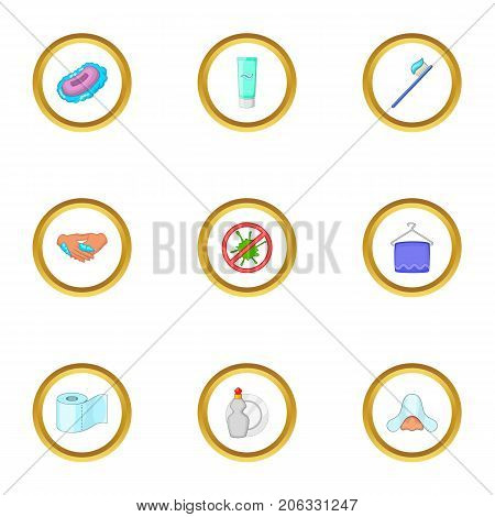 Bio personal hygiene icons set. Cartoon style set of 9 bio personal hygiene vector icons for web design
