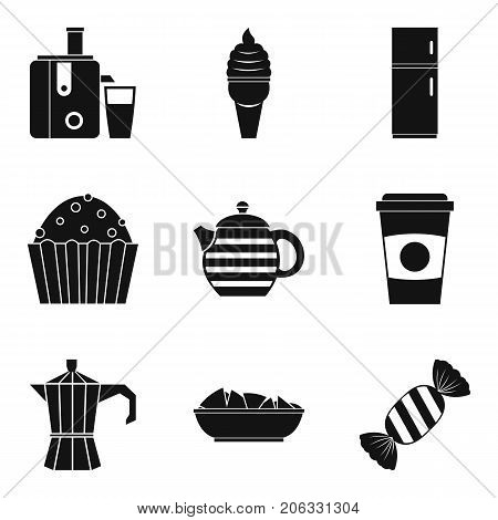 Office breakfast icons set. Simple set of 9 office breakfast vector icons for web isolated on white background