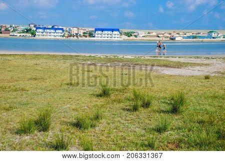 The village Olenevka, liman in summer. Tarhankut. Crimea