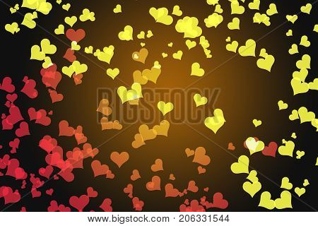 Heart bokeh background, Love Valentine day concept. blur background with warm tone hearts bokeh