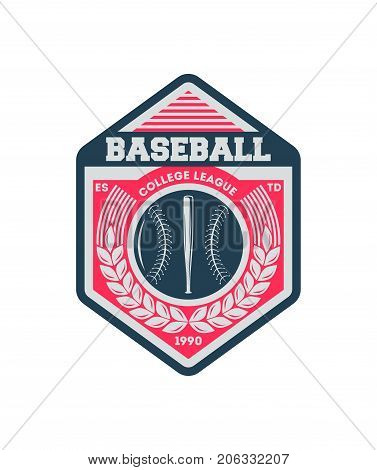 Baseball college society vintage isolated label. Sport competition symbol, athletic camp sign, team game vector illustration.