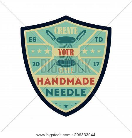 Handmade needle vintage isolated label. Custom clothing shop badge, fashion dress logo, tailoring symbol vector illustration