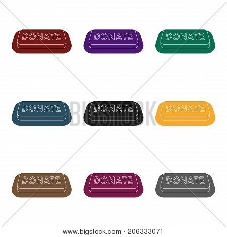 Donate button icon in black design isolated on white background. Charity and donation symbol stock vector illustration.