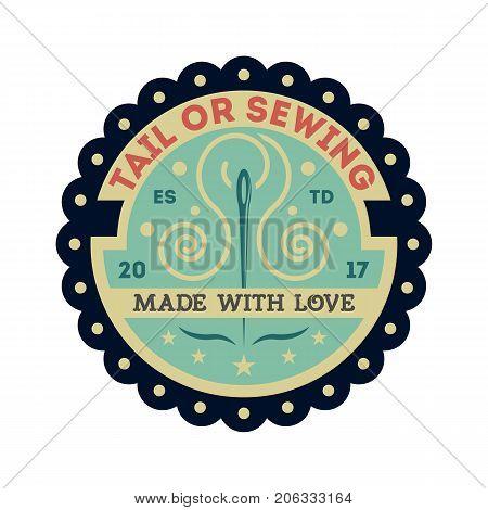 Tailor sewing vintage isolated label. Custom clothing shop badge, fashion dress logo, tailoring symbol vector illustration
