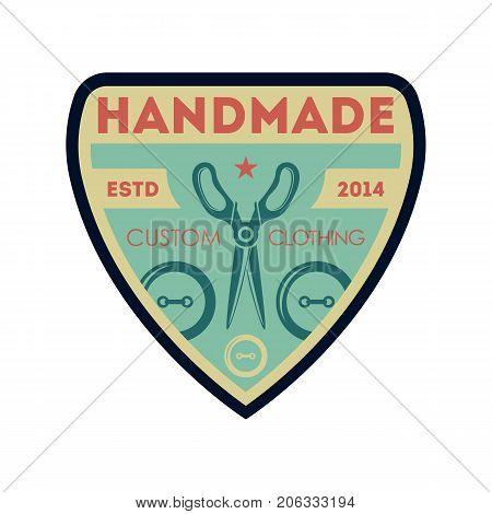 Handmade custom clothing vintage isolated label. Tailor shop badge, fashion dress logo, tailoring symbol vector illustration