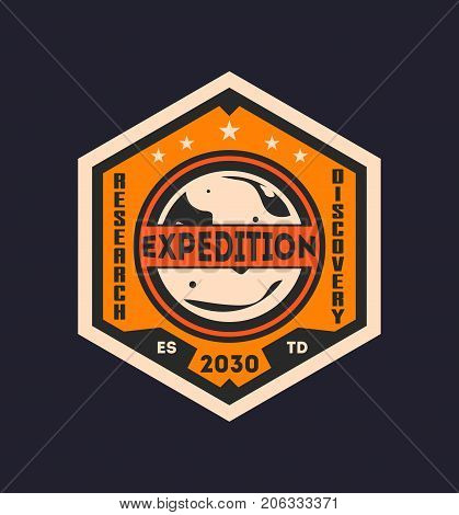 Martian scientific expedition vintage isolated label. Mars mission symbol, modern spacecraft flying, planet colonization vector illustration.