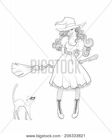 Cute girl in witch costume with a broom and cat next to her. Outlined coloring page.