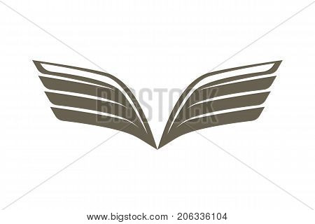 Double wing emblem isolated on white background vector illustration. Winged design elements for company logo or brand.