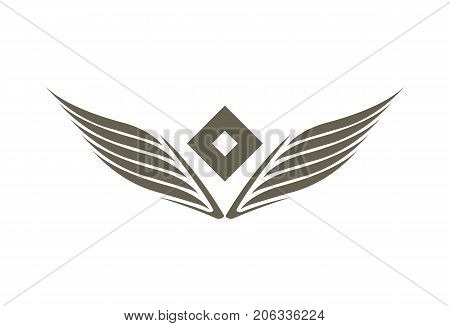Stylized double wings emblem isolated on white background vector illustration. Winged design elements for company logo or brand.