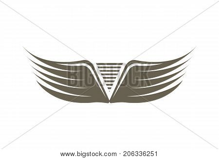 Fly double wings emblem isolated on white background vector illustration. Winged design elements for company logo or brand.