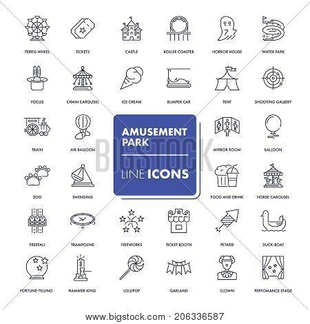Line icons set. Amusement park pack. Vector illustration.