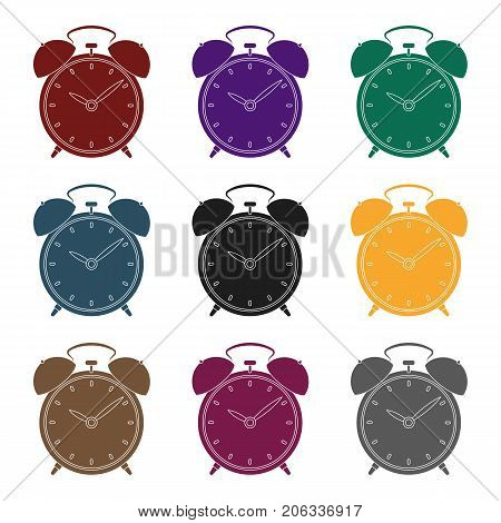 Bedside clock icon in black design isolated on white background. Sleep and rest symbol stock vector illustration.
