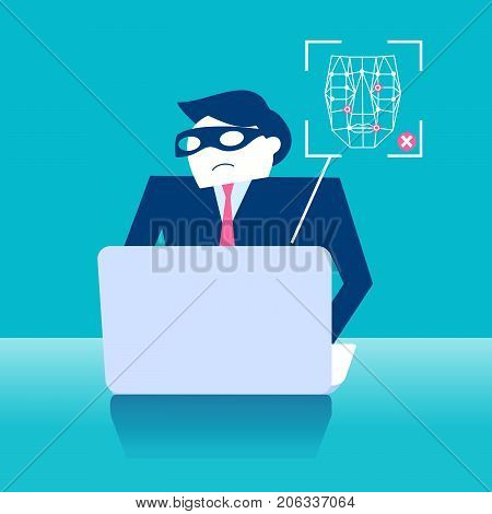 business man with face recognition on the blue background