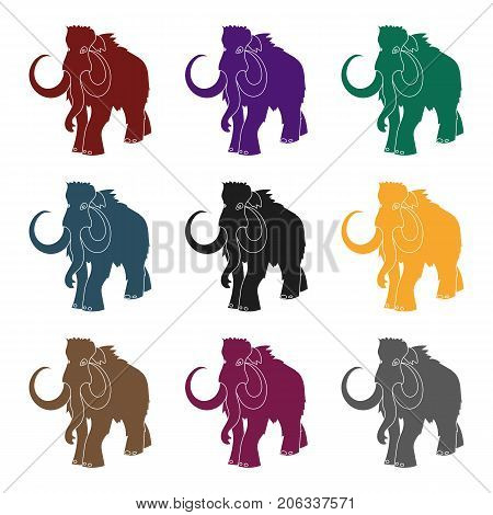 Woolly mammoth icon in black style isolated on white background. Stone age symbol vector illustration.