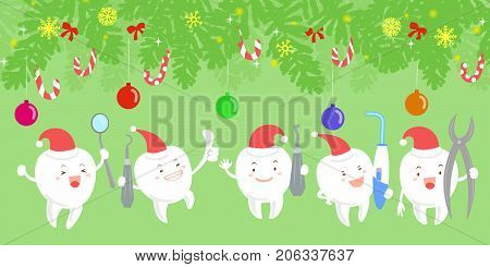 tooth with christmas on the green background