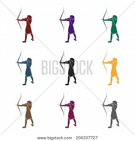 Caveman with bow and arrow icon in black style isolated on white background. Stone age symbol vector illustration.