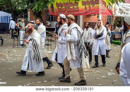 Uman Ukraine - 21 September 2017: Rosh Hashanah Jewish New Year 5778. It is celebrated near the grave of Rabbi Nachman. Pilgrims of the Hasidim on the street of the city of Uman.