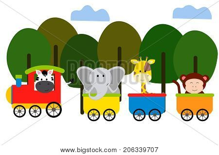 Cute animal on train vector colorful illustration