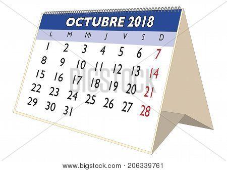 October 2018 Desk Calendar In Spanish Octubre 2018