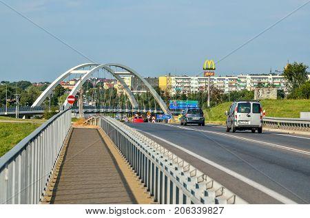 CHRZANOW POLAND - AUGUST 19 2017: Bridge with access road to Chrzanow in Poland.