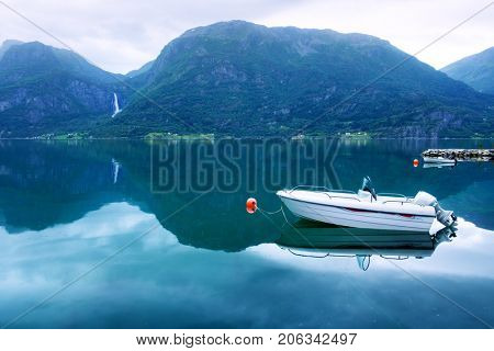 Morning view of white boat