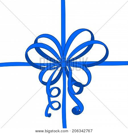 Ribbon wrapping with blue tied bow. Hand drawn sketch. Vector illustration isolated on white background