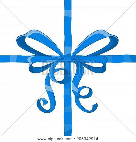 Blue ribbon wrapping with tied bow. Vector illustration isolated on white background