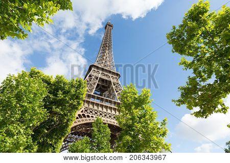Eiffel Tower on Champs de Mars in Paris, France