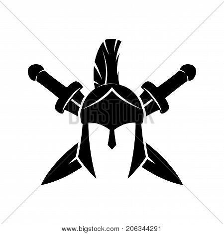 Spartan helmet and crossed swords on a white background.