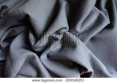 Simple Grey Viscose Fabric In Soft Folds