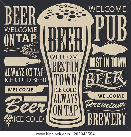 Vector banner for brewery or brasserie with overflowing beer glass and lettering on the beer theme in a retro style on the black background