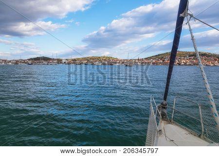 On the Sailboat in Adriatic Sea near the Island of Murter, Dalmatia, Croatia