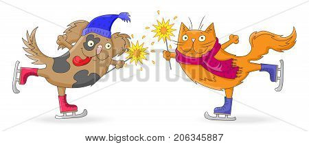 Illustration for new year and Christmas cartoon funny cat and dog skate with sparklers in hand isolated on white background
