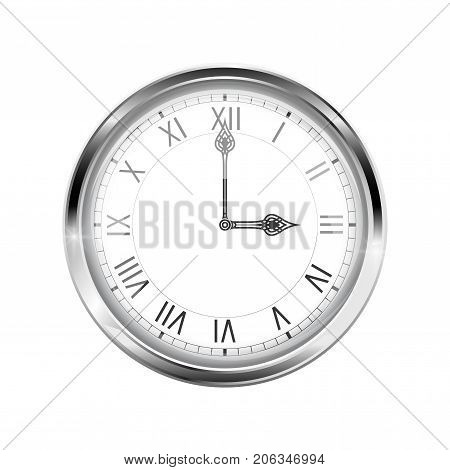 Clock with roman numerals and chrome frame. Three o'clock. Vector 3d illustration isolated on white background
