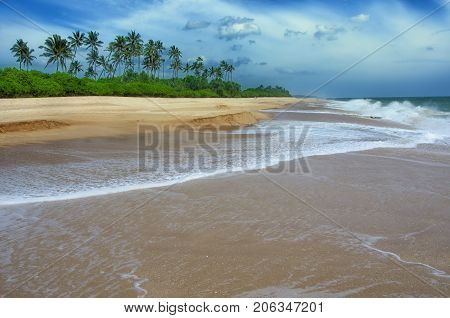 Wave of the sea on the sand beach.Beach and tropical sea.Tropical beach with palms Paradise idyllic beach Sri Lanka. Beautiful Sri Lanka landscape. Exotic water landscape with clouds on horizon. Summer holidays.