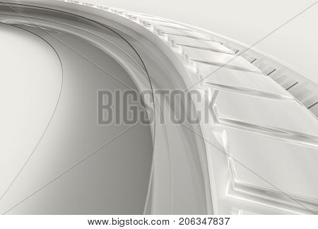 White 3D abstract advanced high technology background. 3D rendering