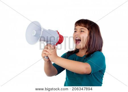 Crazy funny girl shouting through a megaphone isolated on a white background