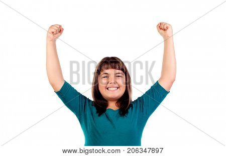 Winner girl celebrating something and raising her arms isolated on a white background