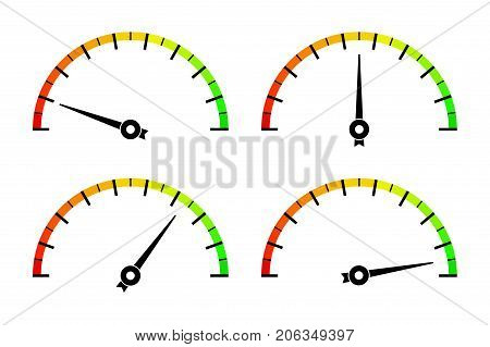Colored measuring semi-circle scales. For industrial gauges. Vector illustration isolated on white background