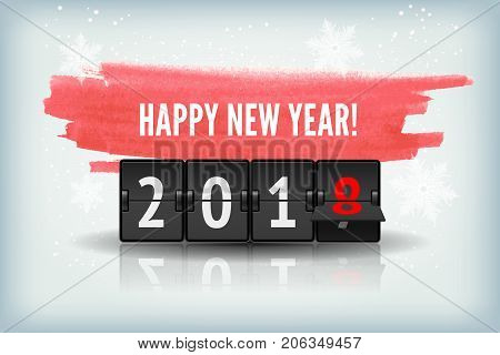 2018 Happy New Year greeting card, vectorrealistic illustration. Holiday postcard with snowflakes and analog flip clock