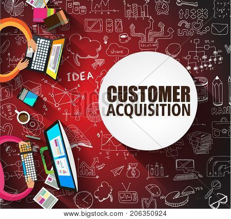 Customer Acquisition concept with Doodle design style, people inteview, shop testing, clear selection