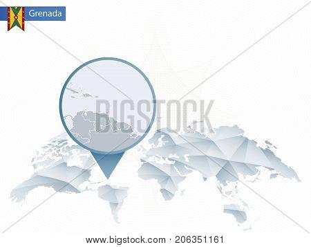 Abstract Rounded World Map With Pinned Detailed Grenada Map.