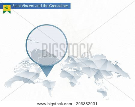 Abstract Rounded World Map With Pinned Detailed Saint Vincent And The Grenadines Map.