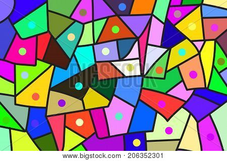 Abstract background in style of Doodle. Colorful patches. Vector illustration