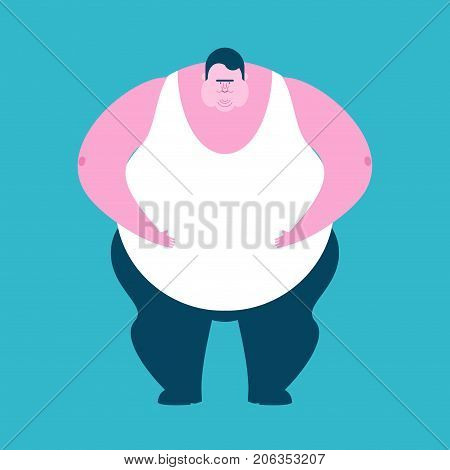 Fat Guy Isolated. Glutton Thick Man. Fatso Vector Illustration