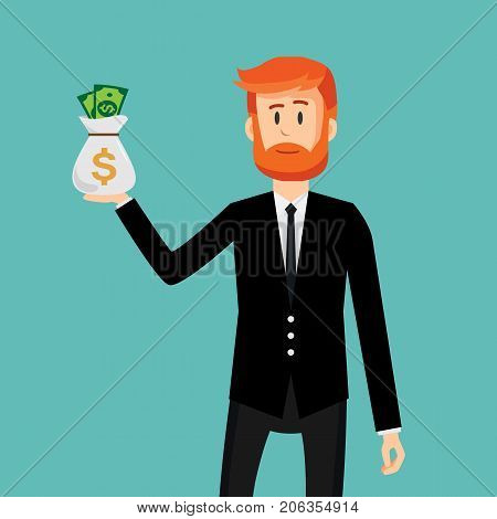 Businessman holding money bag. Business concept. Businessman in flat style. Vector stock.